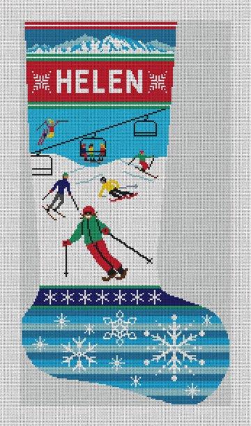 Holiday Ski Christmas Stocking Needlepoint Canvas