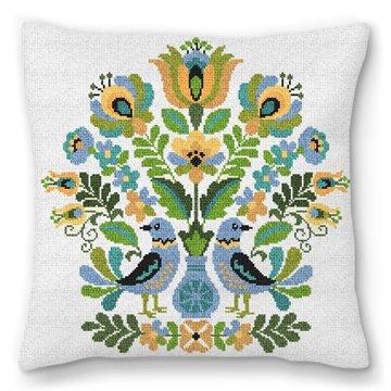 Hungarian Folk Design Needlepoint Pillow