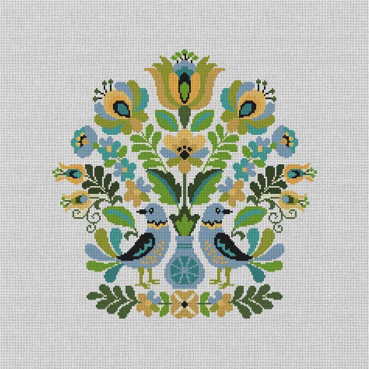 Hungarian Folk Design Needlepoint Pillow Canvas