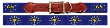 Indiana Flag Needlepoint Dog Collar
