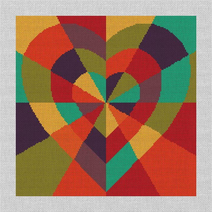Inlaid Heart Needlepoint Canvas