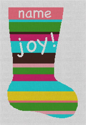 Joy Stripe Needlepoint Christmas Stocking Canvas