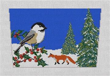 Joyful Chickadee Stocking Cuff Needlepoint Canvas