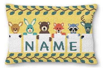 Kids Animal Needlepoint Pillow
