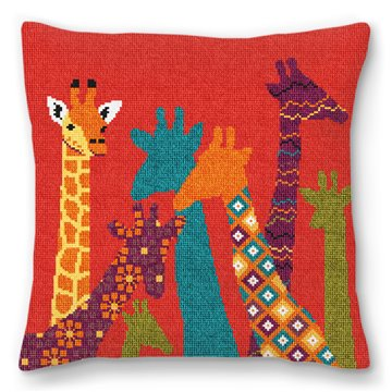 Kids Giraffe Needlepoint Pillow
