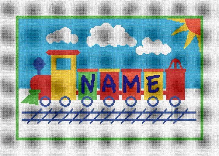 Kids Train Personalized Needlepoint Canvas