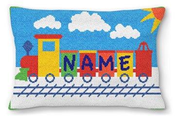 Kids Train Personalized Needlepoint Pillow