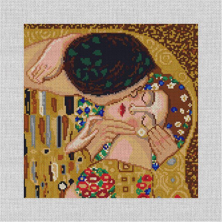 Klimt's Kiss Needlepoint Pillow Canvas