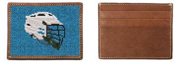 Lacrosse Helmet Needlepoint Card Wallet