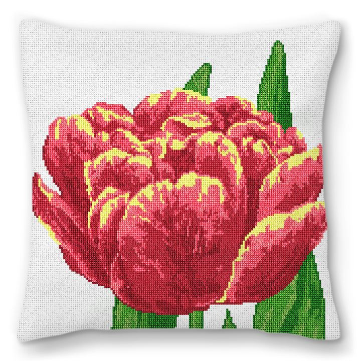 Lacy Tulip Needlepoint Pillow