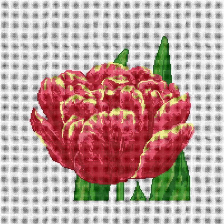 Lacy Tulip Needlepoint Pillow Canvas