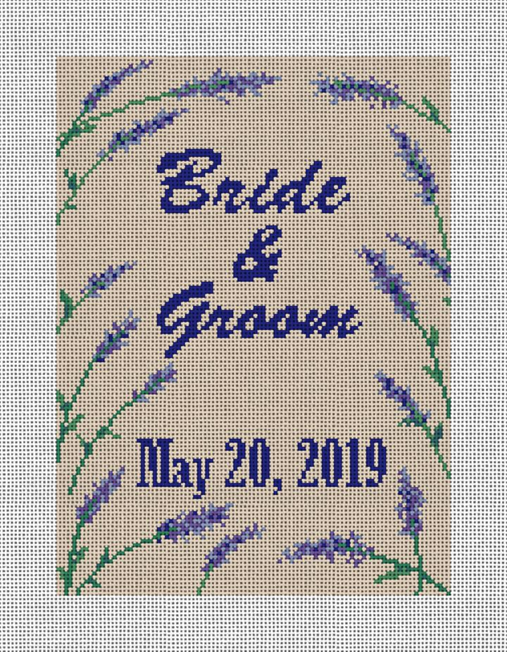 Lavender Wedding Needlepoint Canvas