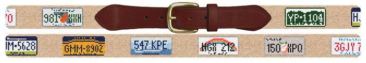 License Plate Needlepoint Belt