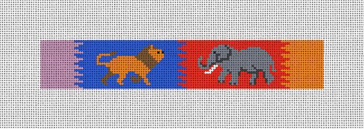 Lion Elephant Safari Needlepoint Key Fob Canvas