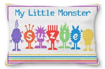 Little Monsters Kids Custom Needlepoint Pillow