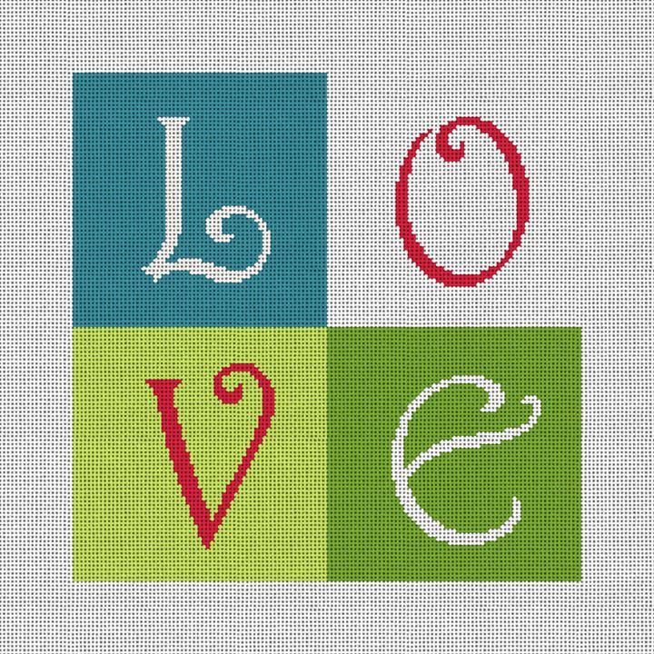 LOVE Needlepoint Ring Bearer Pillow Canvas