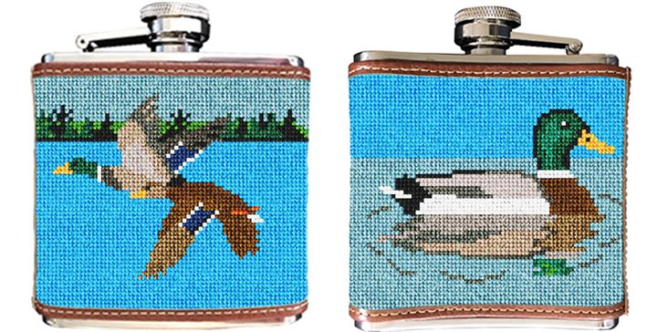 Mallard Landscape Needlepoint Flask