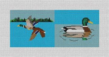 Mallard Landscape Needlepoint Flask Canvas