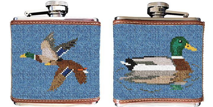 Mallard Needlepoint Flask