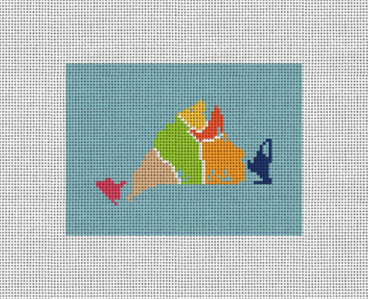 Martha's Map Needlepoint Card Wallet Canvas