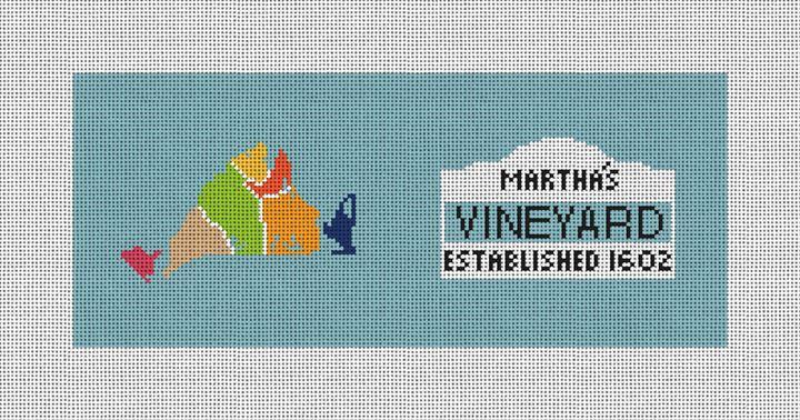 Martha's Vineyard Map Needlepoint Flask Canvas