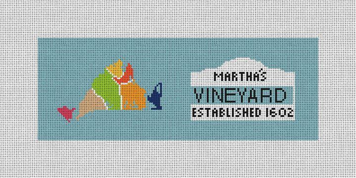 Martha's Vineyard Map Needlepoint Wallet Canvas