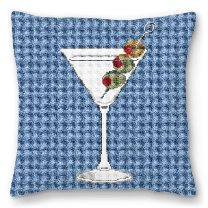 Marvelous Martini Needlepoint Pillow