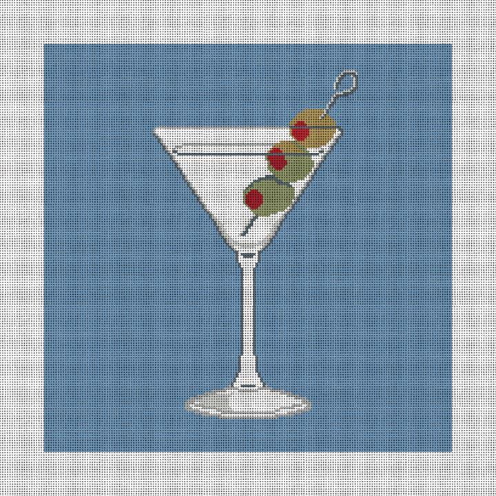 Marvelous Martini Needlepoint Pillow Canvas