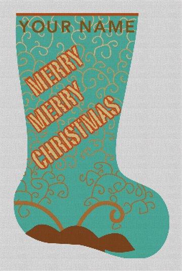 Merry Christmas Needlepoint Stocking Canvas