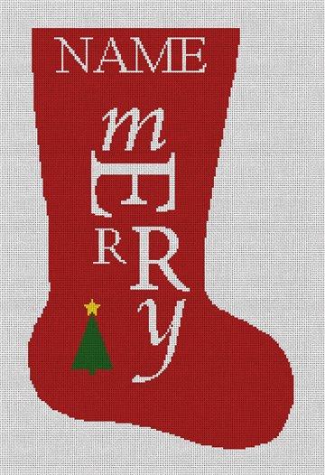 Merry Needlepoint Christmas Stocking Canvas