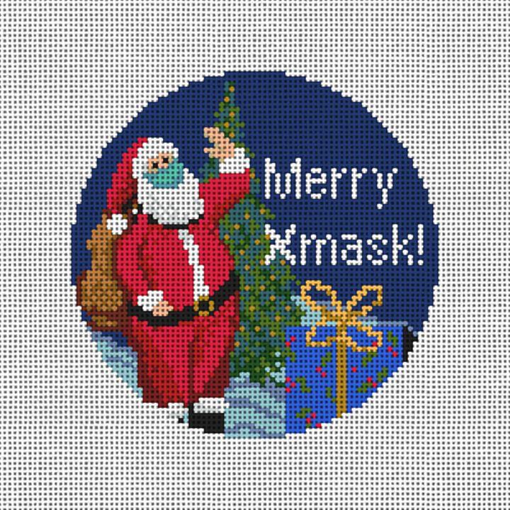 Merry X Mask Needlepoint Ornament Canvas