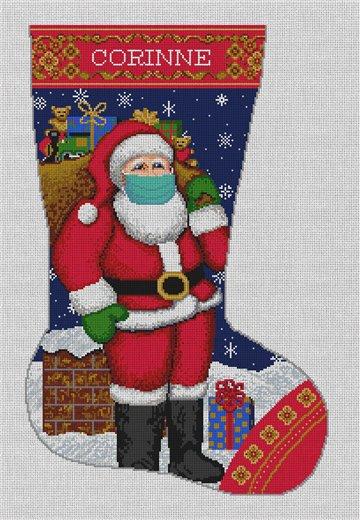 Merry X Mask Needlepoint Stocking Canvas