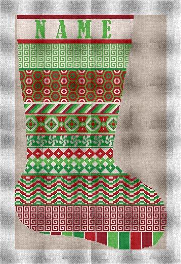 Mixed Avesta Needlepoint Stocking Canvas