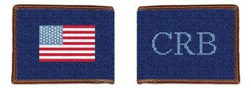 Monogram and US Flag Needlepoint Wallet