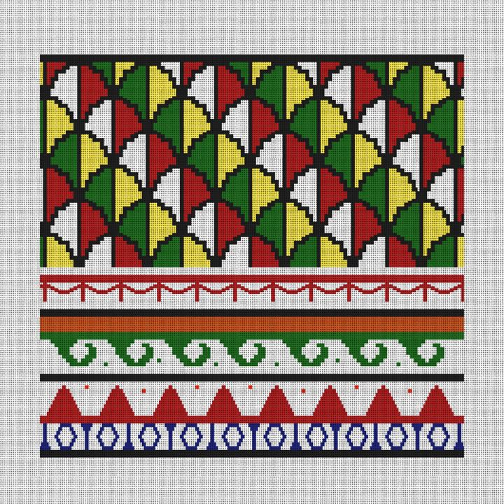 Mosaic Column Needlepoint Pillow Canvas