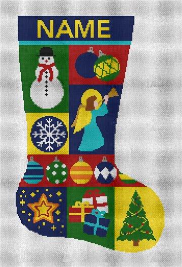 Mosaic Needlepoint Stocking Canvas