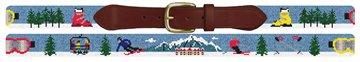 Mountain Skiing Needlepoint Belt
