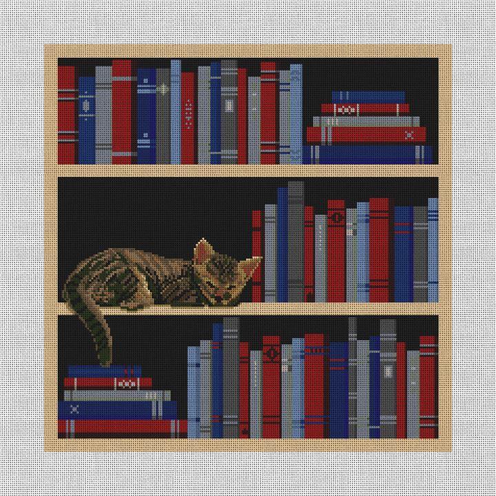 My Bookshelf Needlepoint Pillow Canvas