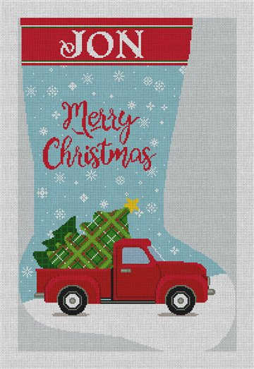 My Little Red Truck Needlepoint Stocking Canvas