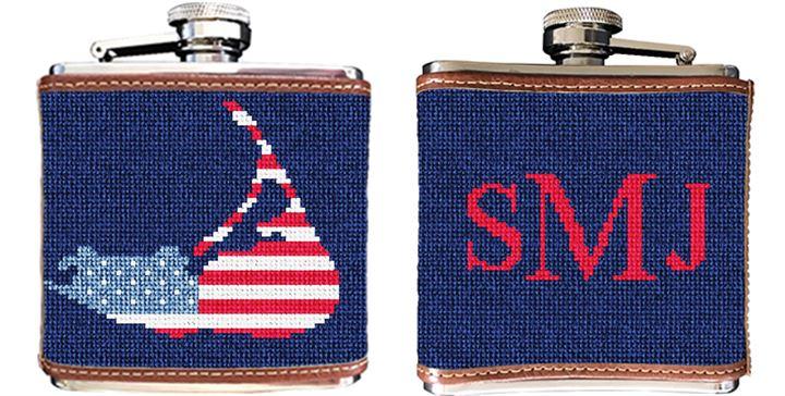 Nantucket Needlepoint Flask