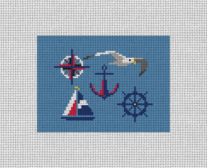 Nautical Needlepoint Card Wallet Canvas