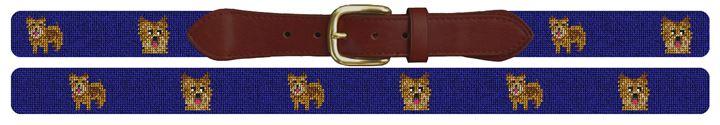 Norwich Terrier Needlepoint Belt