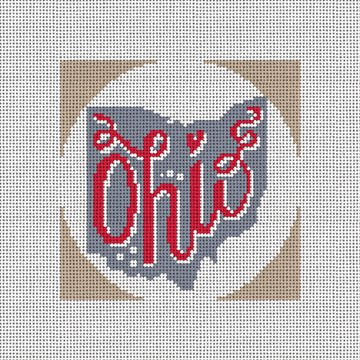 Ohio Needlepoint Christmas Ornament Canvas