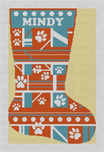 Orange Paw Print Needlepoint Stocking Canvas