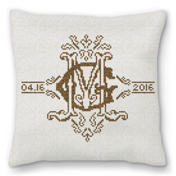 Ornate Monogram Needlepoint Pillow
