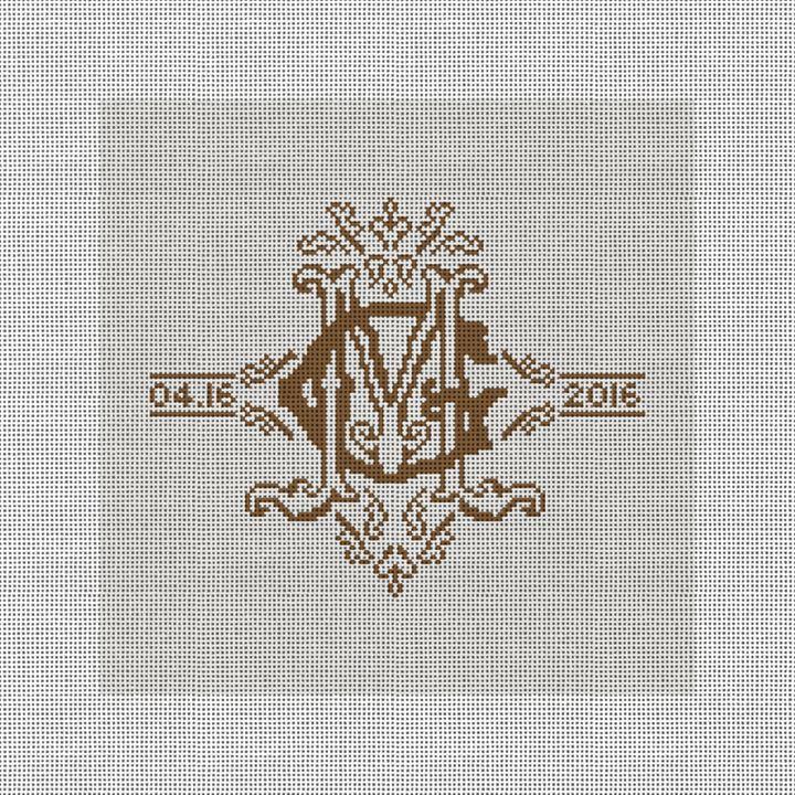 Ornate Monogram Needlepoint Pillow Canvas