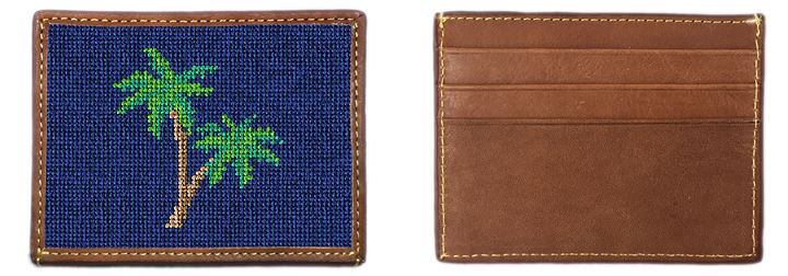 Palm Tree Needlepoint Card Wallet