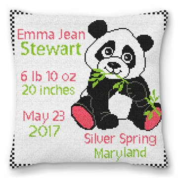 Panda Birth Announcement Needlepoint Pillow
