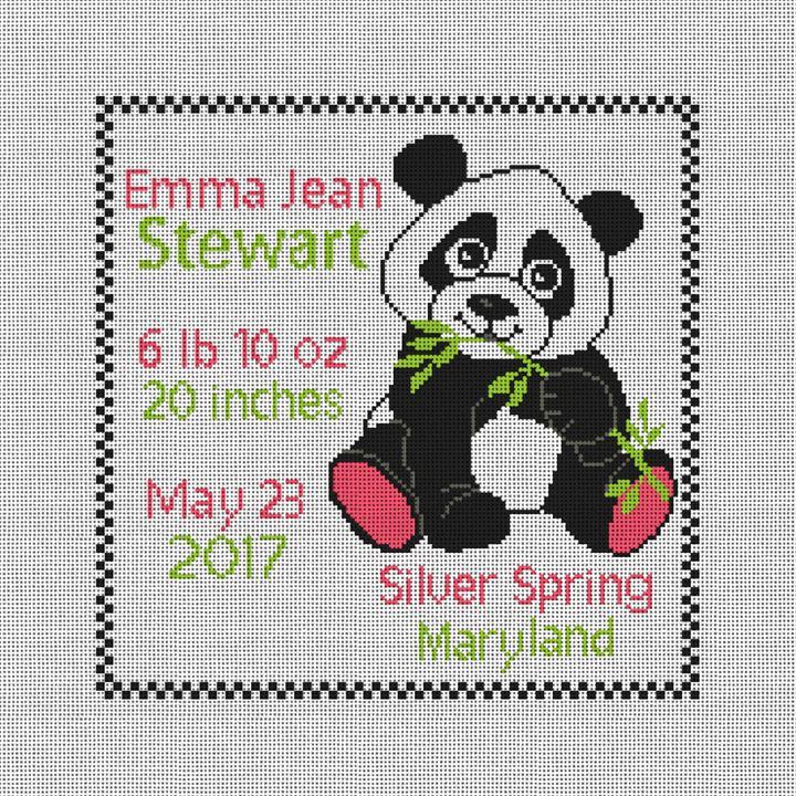 Panda Birth Announcement Needlepoint Pillow Canvas