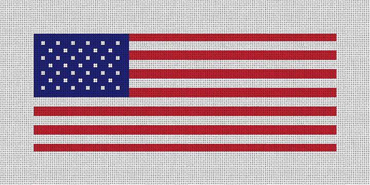Patriotic US Flag Needlepoint Wallet Canvas